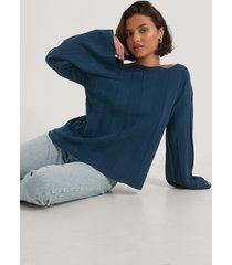 na-kd ribbstickad croppad tröja - navy