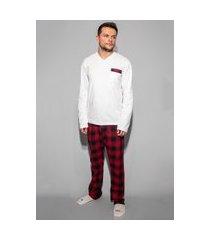 pijama hygge homewear flanela preto e vermelho calça e blusa manga longa branca masculino