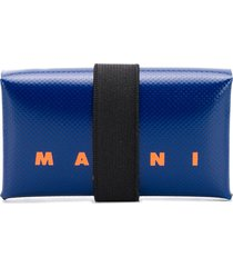 marni logo print leather wallet - blue