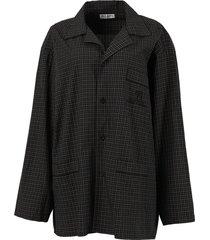 check print pajama shirt, dark navy