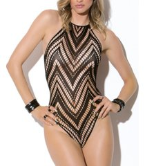 desirae knit halter teddy with zig zag pattern