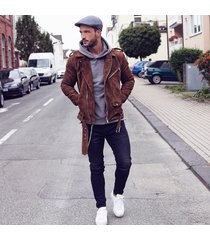 men brown suede biker leather jacket , men biker jacke, men suede leather jacket