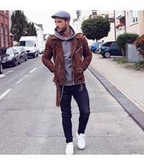 men brown suede biker leather jacket , men biker jacke, men suede leather jacket