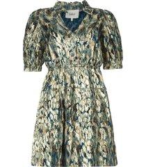 zijden lurex jurk met print glora  blauw