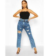 acid-wash jeans met rechte pijpen en hoge taille, middenblauw