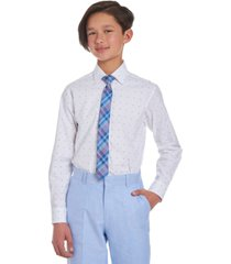 tommy hilfiger big boys 2-pc. stretch logo-print dress shirt & plaid tie set