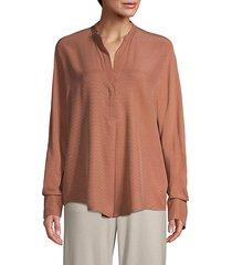 dot jacquard popover silk blouse