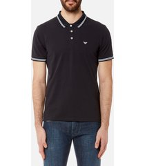emporio armani men's tipped basic modern fit polo shirt - navy - l