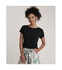 blusa feminina básica com botões manga curta decote redondo preta