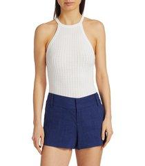 alice + olivia women's hiedi pointelle halter top - soft white - size l
