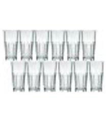 conjunto 12 copos long drink 340ml de vidro nadir bristol suco refrigerante bebidas