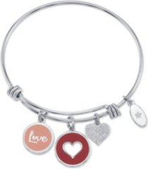 """unwritten """"love"""" heart enamel and cubic zirconia heart adjustable bangle bracelet in stainless steel with silver plated charms"""