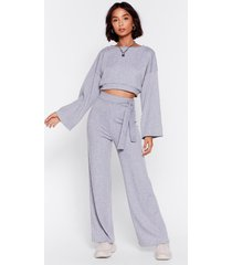 womens rib's time to chill top and wide-leg pants set - grey marl