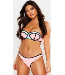 strapless colour block bikini met beugel, roze
