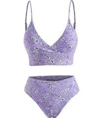 ditsy print surplice-front high rise bikini swimwear