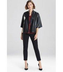 natori faux leather cropped kimono coat, women's, size l