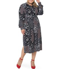 plus size women's standards & practices tie waist long sleeve midi dress, size 1x - blue
