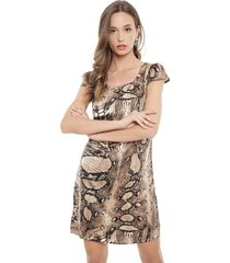 vestido tentation pitón marrón - calce regular