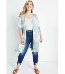 maurices plus size womens light green tie dye duster length cardigan