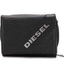 diesel textured tri-fold wallet - black