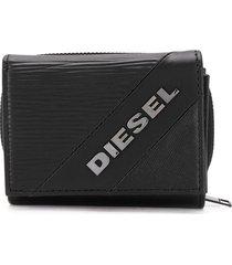diesel textured tri-fold wallet - black