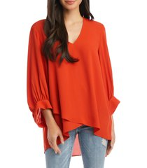 women's karen kane asymmetric blouson sleeve top, size large - orange