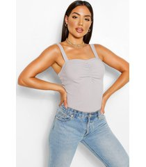 ruched square neck cami top, grey