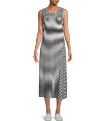 karl lagerfeld paris women's striped midi dress - black - size l