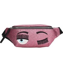 chiara ferragni waist bag in rose-pink leather