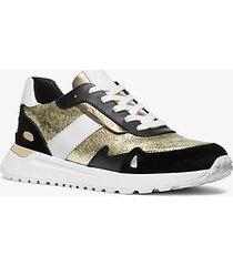 mk sneaker monroe in pelle metallizzata e pelle scamosciata - plgold/blk - michael kors