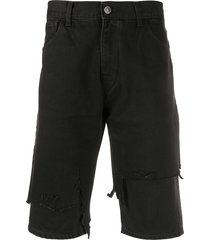 raf simons destroyed slim-fit denim shorts - black