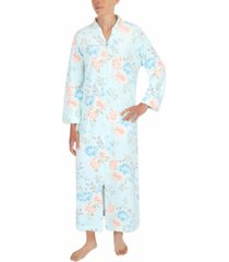 miss elaine floral-print long zipper robe