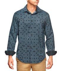 tallia men's slim fit kaleidoscope print long sleeve shirt and a free face mask