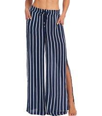 women's la blanca stripe wide leg crinkle cover-up pants, size small - blue