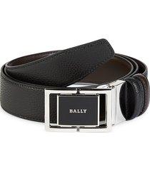bally men's logo leather belt - black - size 44