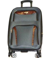 maleta de lona s2 mediana 24pulgadas- gris con naranja