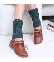 donna scaldamuscoli di calze in maglia all'uncinetto con bottone calze corte da stivali per gambe a tener caldo