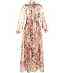 dolce & gabbana floral-print sheer coat - pink