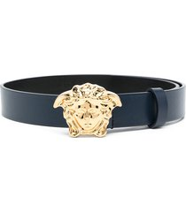 young versace palazzo leather belt - blue