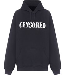 vetements censored oversized cotton hoodie