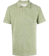 universal works vacation fleece polo shirt - green