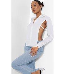 blouse met open rug en strik, white