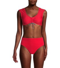 tommy hilfiger women's cropped bikini top - scarlet - size s