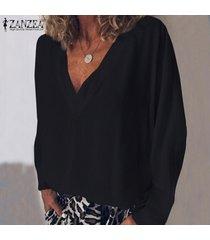 zanzea mujeres camiseta de manga larga con cuello en v camiseta top tee sólido llano básico de la blusa nuevo -negro