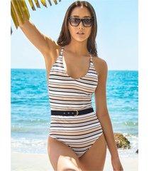 chamela 25505 - entero de baño estampado rayas de mujer - vestido de baño