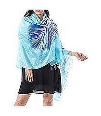 batik silk shawl, 'watery love' (thailand)