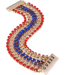 guess gold-tone link & stone multi-row flex bracelet