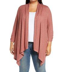 plus size women's bobeau cozy drape front cardigan, size 1x - pink