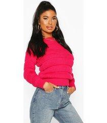 petite bubble knit sweater, bright pink