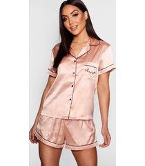 gebroduurde satijnen 'sleep' pyjama set met shorts